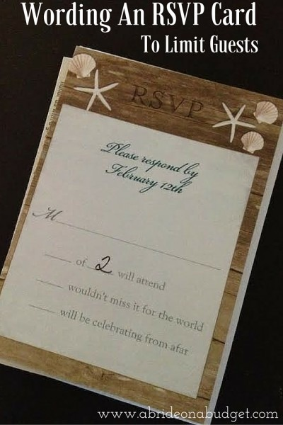 Wording An Rsvp Card To Limit Guests