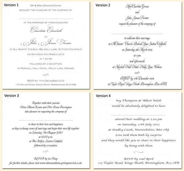Wording Versions Pics Of Wedding Invitation Inserts Template
