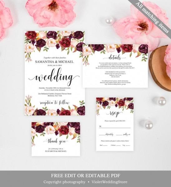 Marsala Wedding Invitation Template  Printable Wedding Invitation