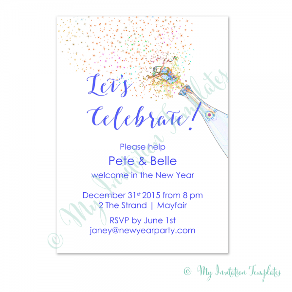 001 Champagne New Years Party Invitation Template Eve Invitations
