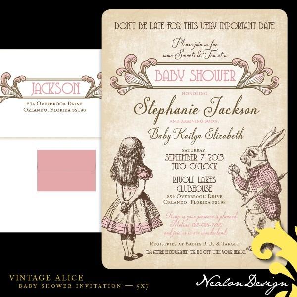 006 Template Ideas Alice In Wonderland Invitation Templates Baby