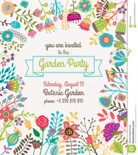 008 Party Invite Template Free Garden Summer Invitation Poster