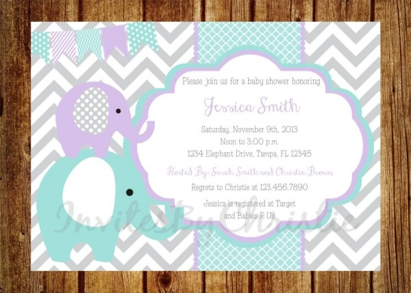Teal, Purple And Gray Elephant Baby Shower Invitation
