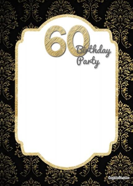 019 Free Printable Elegant 60th Birthday Invitation Template Ideas