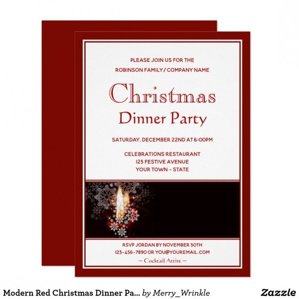Modern Red Christmas Dinner Party Invitation