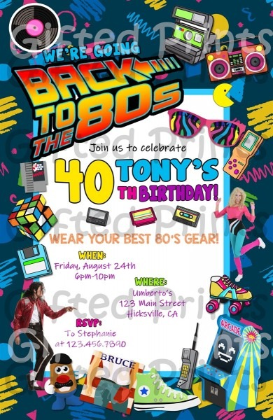 Birthday Invitation, Back To The 80's Party Theme