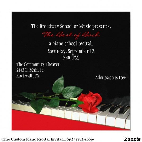 Chic Custom Piano Recital Invitation