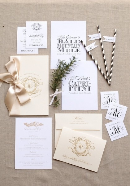 Burlap Letterpress Wedding Invitation