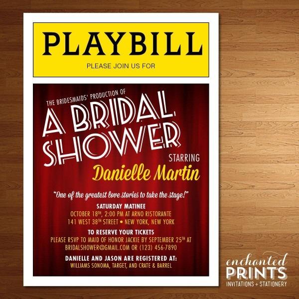 Broadway Playbill Invitations Theater Nyc Theme Bridal