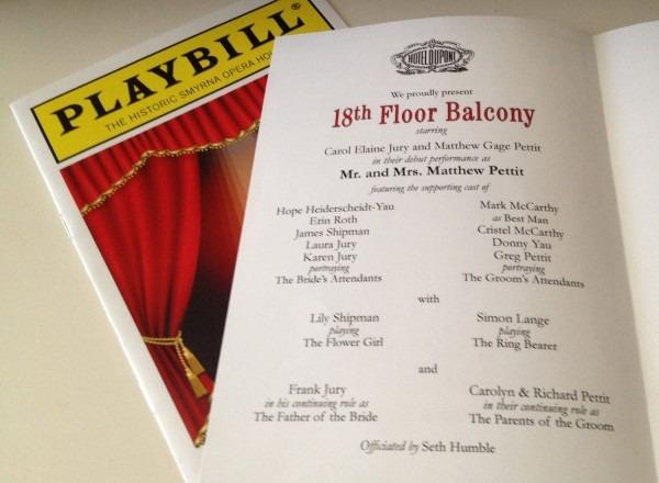 Playbill Theater Wedding Program Or Invitation 8 Page Broadway