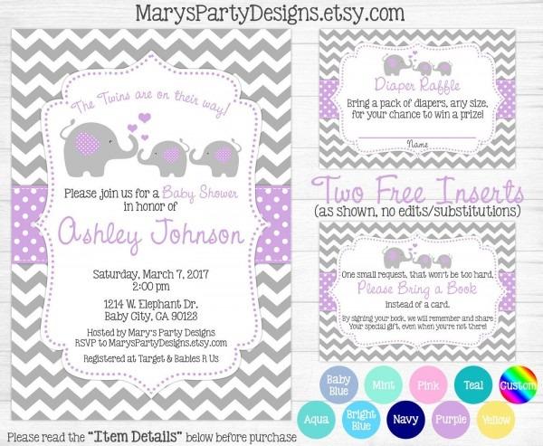Elephant Twins Baby Shower Invitation