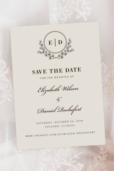 Elegant Script Monogram Save The Date Engagement Wedding