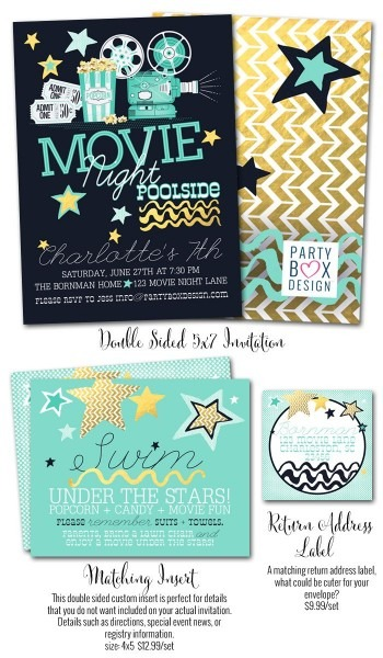 Girl Party Invites, Movie Party, Pool Party Invites, Poolside
