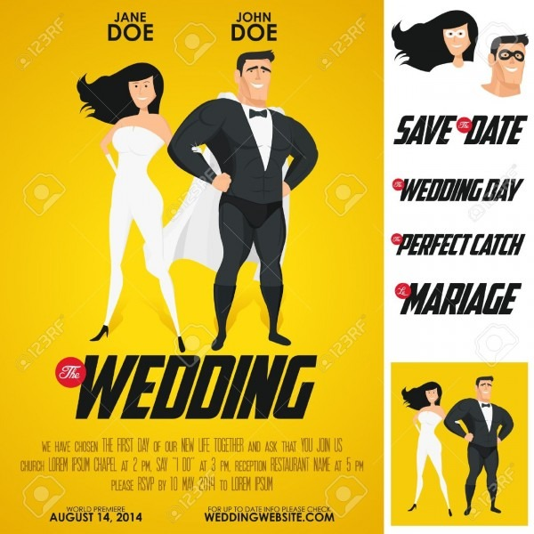 Funny Heroes Movie Poster Wedding Invitation Royalty Free Cliparts