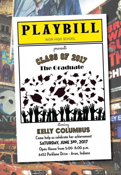 Playbill Style Graduation Invitation Theater Broadway Ny Diy
