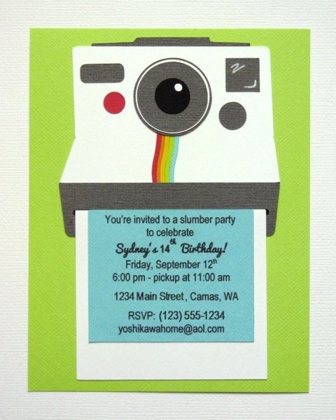 Polaroid Camera Themed Birthday Invitation For Instagram Themed
