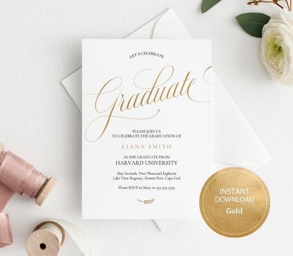Editable Pdf Template 5x7 Graduation Party Invitation Card Instant