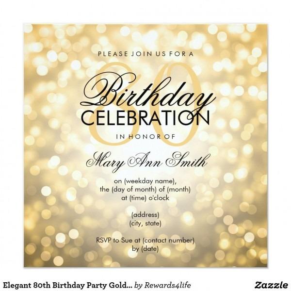 Elegant 80th Birthday Party Gold Glitter Lights Invitation