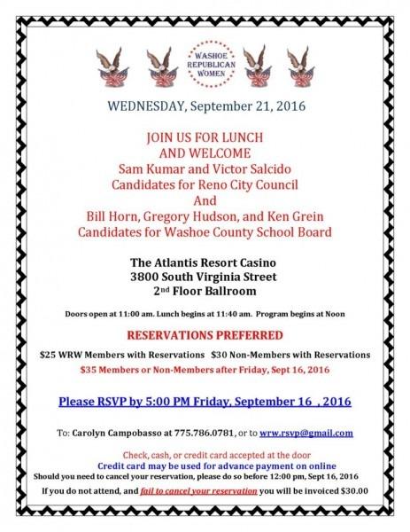 Washoe Republican Women Monthly Meeting