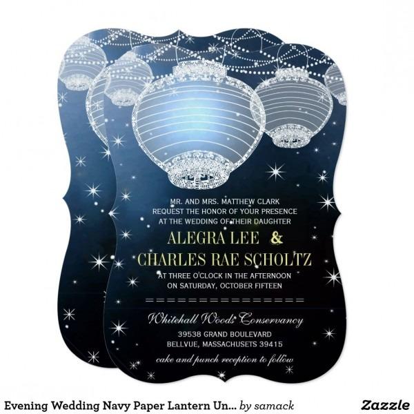 Evening Wedding Navy Paper Lantern Under The Stars Invitation