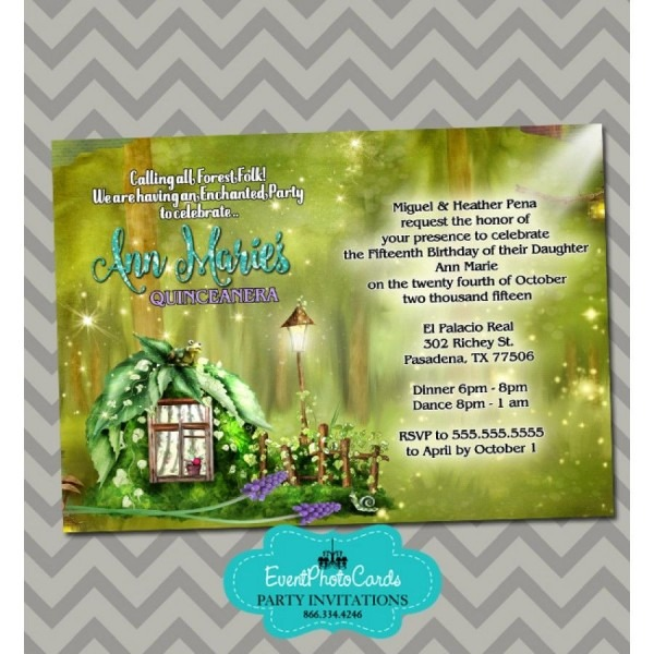 Enchanted Forest Sweet 15 Invitations