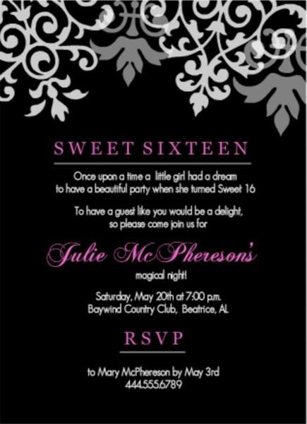 Sweet 16 Invitation Wording Samples
