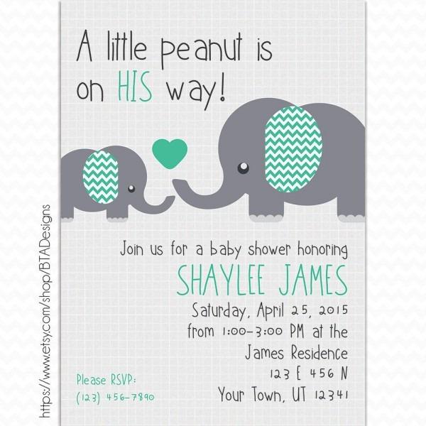 Little Peanut Baby Shower Invitation, Customized, Digital File In