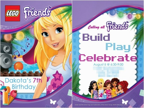 Free Lego Friends Birthday Invite  Add Your Own Text