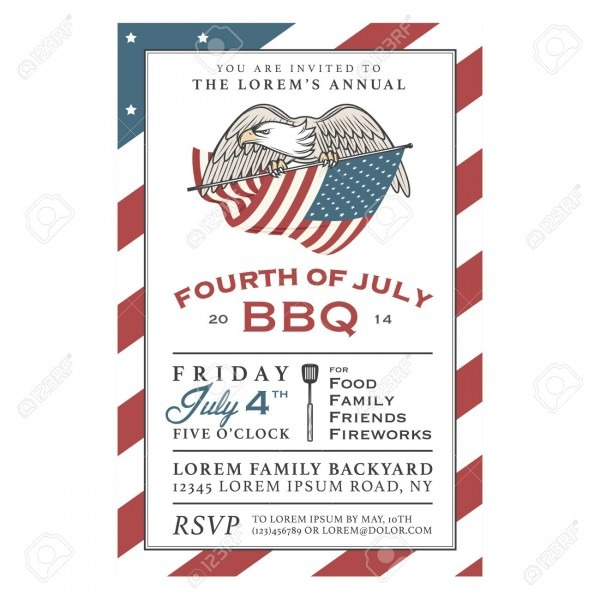 Vintage 4th Of July Independence Day Barbecue Invitation Royalty