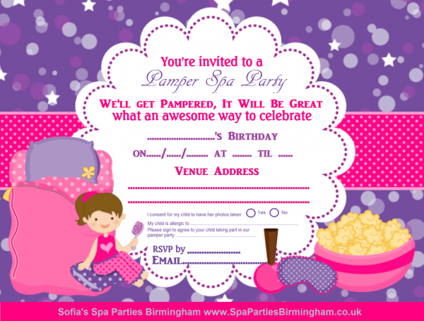 Girls Spa Party Invites