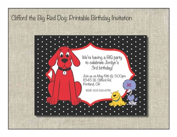 Clifford The Big Red Dog Printable Birthday Invitation