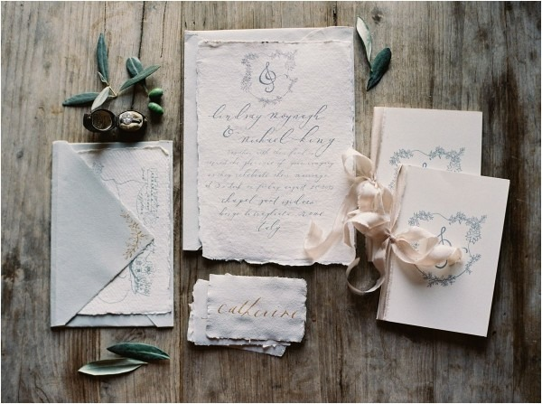 2 Custom Calligraphy Handmade Paper Organic Wedding Invitation