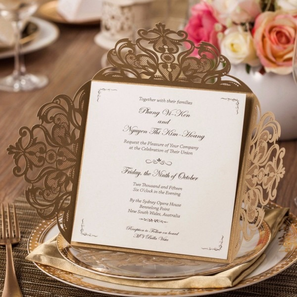 30pcs Wedding Invitations Cards With Ivory Gold Laser Cut Floral