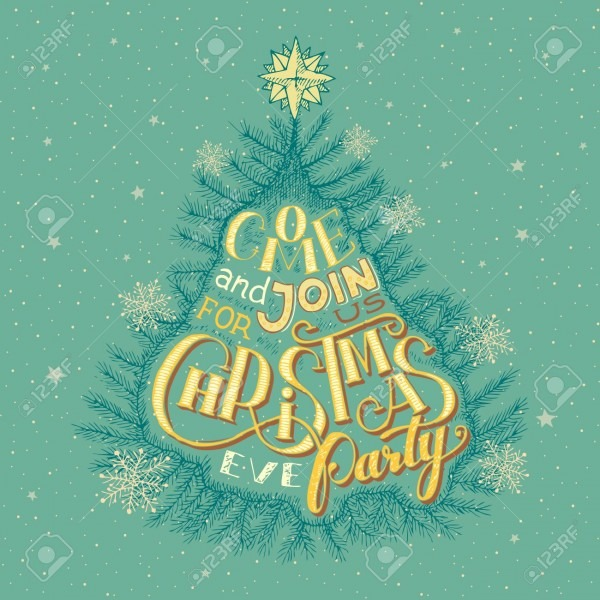 Vintage Christmas Eve Party Invitation Hand