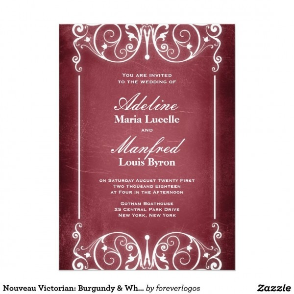 Nouveau Victorian  Burgundy & White Wedding Invitation