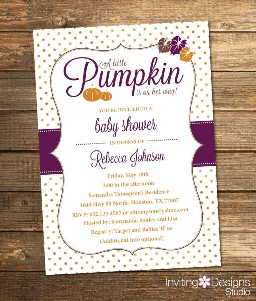 Pumpkin Baby Shower Invitation, Fall, Autumn, Orange, Purple, Gold