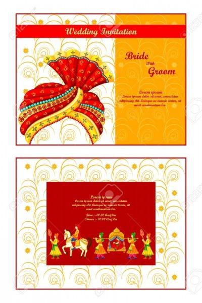 Vector Illustration Of Indian Wedding Invitation Card Royalty Free
