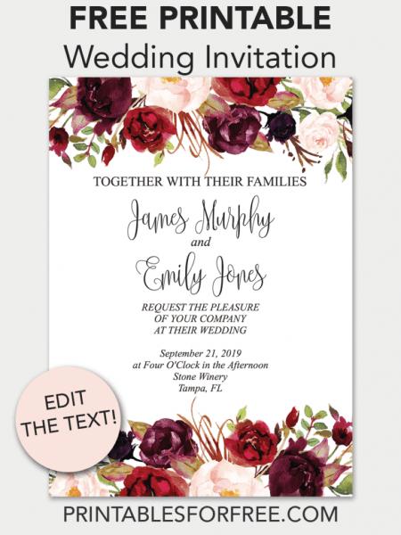 Marsala Floral Printable Wedding Invitation