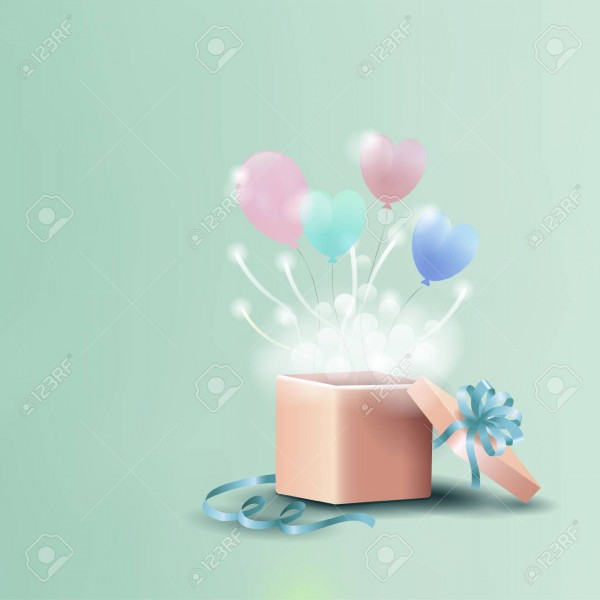 Birthday Card, Invitation With Open Gift Box And Heart Shaped
