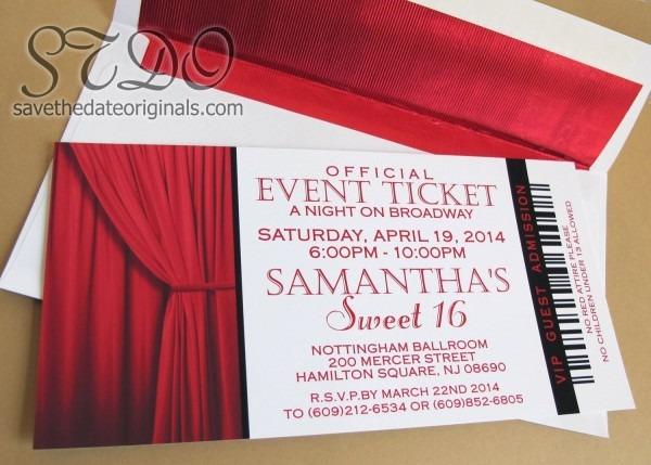 Save The Date Originals  Sweet 16 Broadway Invitations