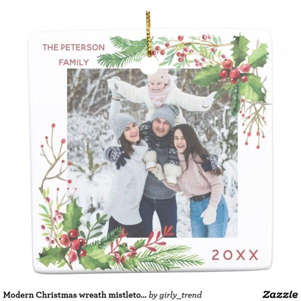 Modern Christmas Wreath Mistletoe Add Your Photo Ceramic Ornament