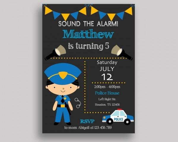 Police Birthday Invitation Police Birthday Party Invitation Police