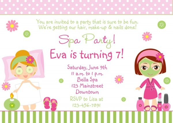 Spa Birthday Party Invitation Spa Party Invitation
