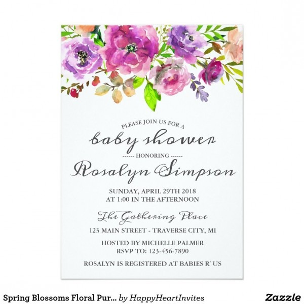 Spring Blossoms Floral Purple Pink Baby Shower Invitation