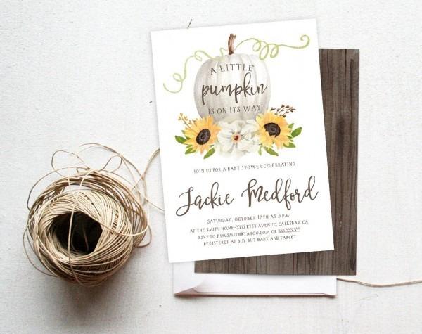 Fall Baby Shower Invitation, Pumpkin, Sunflowers, Autumn, Boho
