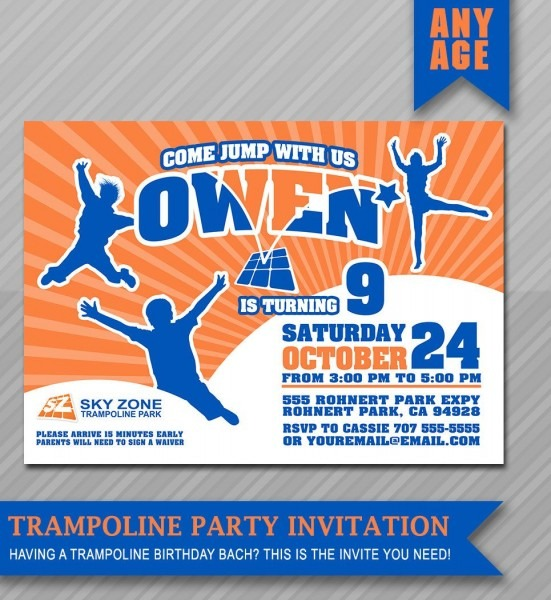 Trampoline Party Invitation , Bounce House Invitation , Trampoline
