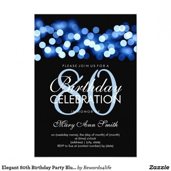 Elegant 80th Birthday Party Blue Hollywood Glam Invitation