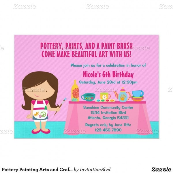 Pottery Painting Arts And Crafts Birthday Party Invitation