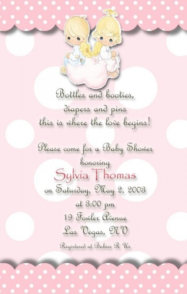 Angels Precious Moments Baby Shower Invitations Pink And Polka