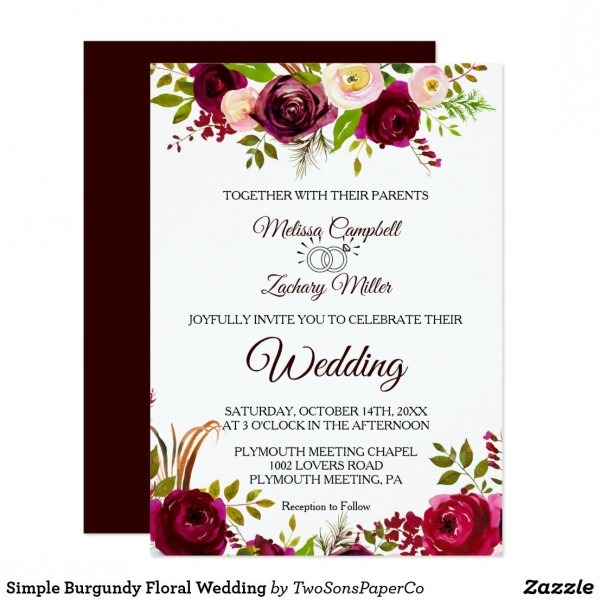 Simple Burgundy Floral Wedding Invitation